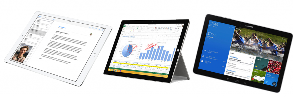 iPad Pro, Surface Pro 3 and Galaxy Note Pro