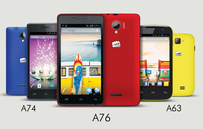 A selection of Micromax smartphones.