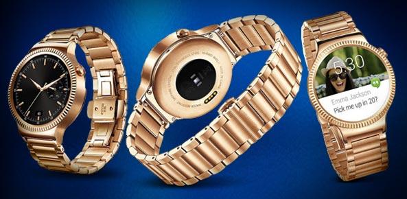 Huawei Watch in gold.